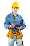 A worker with clipboard isolated Stock Photography