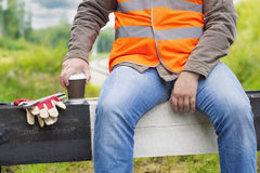 Worker with a coffee Royalty Free Stock Photography
