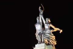 Worker and Collective Farm monument in Moscow. At night, hammer and sickle Royalty Free Stock Images