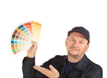 Worker with color samples. Stock Photo