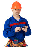 Worker with communacator Royalty Free Stock Image
