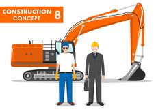 Worker concept. Detailed illustration of excavator, worker, engineer in flat style on white background. Heavy Royalty Free Stock Photography