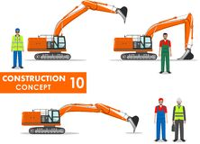 Worker concept. Detailed illustration of excavator, worker, miner, engineer, businessman in flat style on white background. Heavy Royalty Free Stock Image
