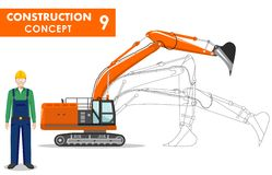 Worker concept. Detailed illustration of excavator, worker, miner in flat style on white background. Heavy construction and mining Stock Image