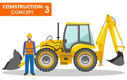 Worker concept. Detailed illustration of workman and backhoe loader in flat style on white background.  Stock Images