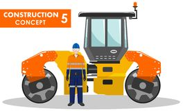 Worker concept. Detailed illustration of workman and compactor  Royalty Free Stock Images