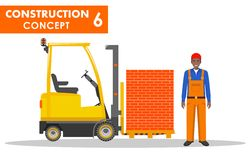 Worker concept. Detailed illustration of workman and forklift in flat style on white background. Heavy construction Royalty Free Stock Photography