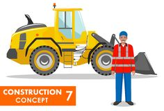 Worker concept. Detailed illustration of workman and wheel loader in flat style on white background. Heavy construction Royalty Free Stock Photography