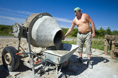 Worker and concrete mixer Royalty Free Stock Images