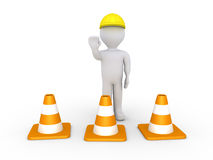 Worker and cones Stock Photography