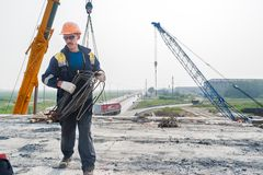 Worker on construction of bridge Royalty Free Stock Photography