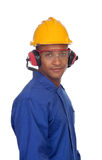 Worker construction with glasses and helmet Royalty Free Stock Photography