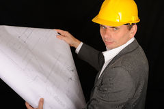 Worker with Construction Plan Stock Image