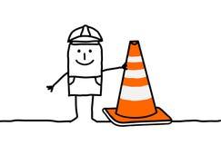 Worker & construction sign. Hand drawn cartoon characters - worker & construction sign Stock Photography
