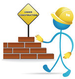 Worker and construction sign Royalty Free Stock Image