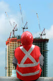 Worker on construction site. Worker on condominium construction site Royalty Free Stock Images