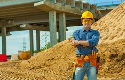 A worker on construction site Stock Images