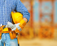 Worker on construction site Royalty Free Stock Image