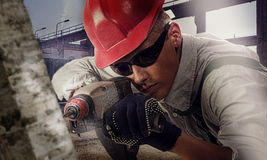 Worker at a construction site stock photos