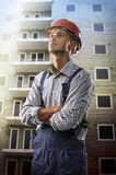 Worker at a construction site stock images