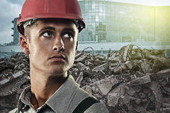 Worker at a construction site Stock Photo