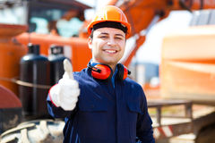 Worker in a construction site royalty free stock photography
