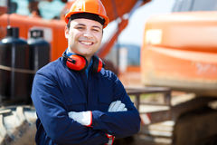 Worker in a construction site Stock Photo