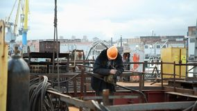 Worker in construction site stock footage