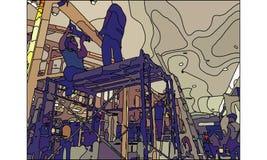 Worker in construction site vector. Worker in construction site drilling wood vector Stock Photos