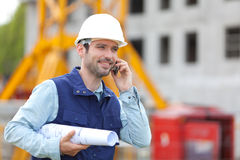 Worker on a construction site Stock Image