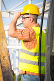 Worker in a construction site Stock Image