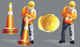 Worker construction is to keeping clearing of the funnel traffic. Worker construction service industrial is to keeping clearing of the funnel traffic on the vector illustration