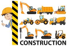 Worker and construction trucks. Illustration Royalty Free Stock Photography
