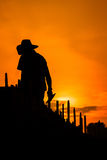 Worker. Construction workers. The evening sun Royalty Free Stock Photography