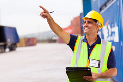 Worker container depot Stock Photography