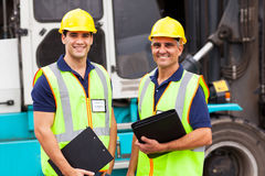 Worker container forklift Royalty Free Stock Photo