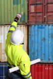 Worker on a Container Terminal Stock Images