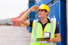 Worker container yard Stock Photography