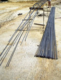 Worker with contruction iron lines for building foundation Royalty Free Stock Photo