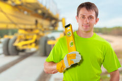 A worker with costruction level Stock Photography