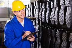 Worker counting stocks royalty free stock photos