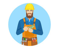 Worker counts cash money Royalty Free Stock Photo