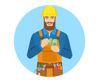 Worker counts cash money Royalty Free Stock Photos