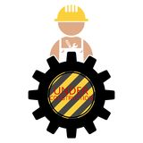 Worker, Craftsman with Under Construction Sign Stock Image