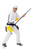 Worker crazy broom guitar Royalty Free Stock Images