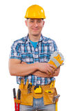 Worker with crossed arms and with tools looking at camera Royalty Free Stock Photo