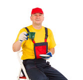 Worker with cup of tea. Royalty Free Stock Photo