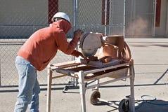 Worker Custom Cutting Brick Stock Images