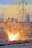 Worker cut metal using blowtorch Stock Photography