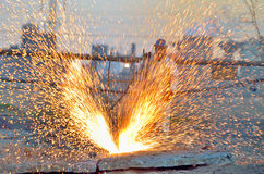 Worker cut metal using blowtorch Royalty Free Stock Photography
